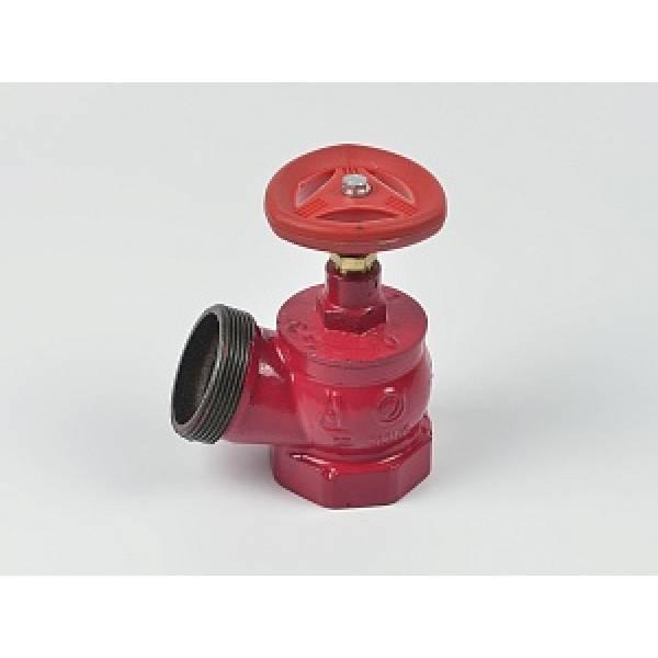 Клапан пожарный чугунный КПЧ угловой 125° (муфта-цапка)